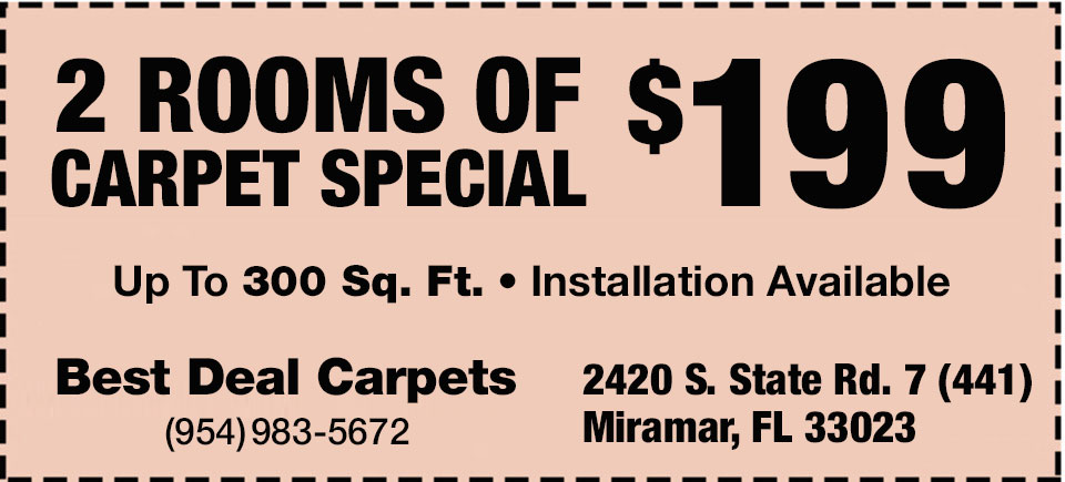 2 Rooms of Carpet Special $199 | Up to 300 sq. ft. | Installation Available