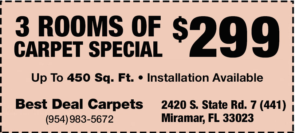 3 Rooms of Carpet Special $299 | Up to 450 sq. ft. | Installation Available